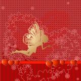 Red retro valentine fairy Royalty Free Stock Image