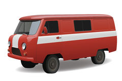 Red retro van. Red classic retro van, vector Royalty Free Stock Images
