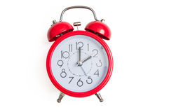 Red retro and vintage style bell alarm clock isolated on white background Royalty Free Stock Photos