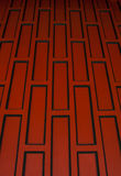 Red retro wood paneling,Oblique angle. Stock Image