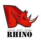 Red rhino with the sharp tusk / horn. In white background royalty free illustration