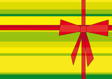 Red ribbon. Illustration of red cross ribbon and bow on the green striped background Royalty Free Stock Images