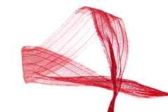 Red ribbon. Red curly riibon isolated on white Royalty Free Stock Photography