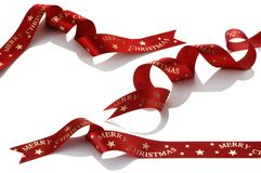 Red ribbon. Curve red ribbon for Christmas Stock Image