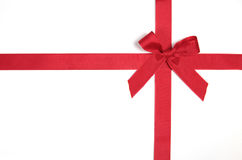 Red ribbon. On a gift Royalty Free Stock Photography