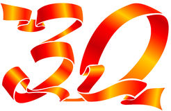 Red ribbon - the 30 number. Vector red ribbon formed the 30 number Royalty Free Stock Photography