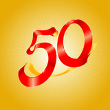 Red Ribbon 50. Ribbon forming number 50, useful for anniversary and birthday design elements Stock Photo