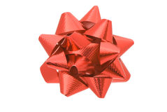 Red ribbon. Closeup on white background Stock Photography