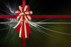 Red Ribbon on Abstract Multicolour  for background.  Royalty Free Stock Image