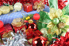 Red Ribbon and Accessory decorations of Christmas day. Stock Photos