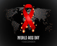 Red ribbon of aids awareness with text for 1st December World Aids Day. World map.   illustration. Royalty Free Stock Photos