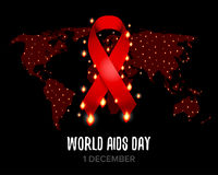 Red ribbon of aids awareness with text for 1st December World Aids Day. World map.  vector illustration. Stock Images