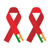 Red ribbon AIDS, HIV icon with India flag concept flat color illustration Royalty Free Stock Images