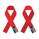 Red ribbon AIDS, HIV icon with South Africa flag concept flat color illustration Stock Images