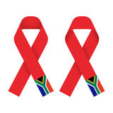 Red ribbon AIDS, HIV icon with South Africa flag concept illustration Stock Image