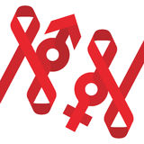Red ribbon AIDS, HIV and male female sign icon flat color design Stock Photo