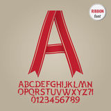 Red Ribbon Alphabet and Digit Vector Stock Photos