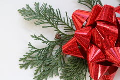 Red Ribbon And Evergreens Royalty Free Stock Photo