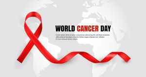 eeb00ff2343583 Red ribbon as world cancer day symbol with text sample. Vector illustration  of anti-