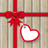 Red Ribbon Ash Heart Wood Royalty Free Stock Photography