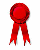 Red ribbon award perfection success first place im. Portant isolated Stock Photos