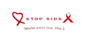 Red Ribbon awareness symbol and rope red heart with red text stop aids on white background, World Aids Day concept. Red ribbon awareness symbol of World aids Royalty Free Illustration