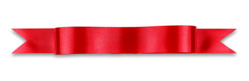 Red ribbon banner. On white background stock photography