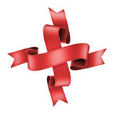 Red ribbon banner in cross shape Stock Photography