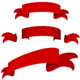 Red Ribbon Banner Icon Set Stock Photography