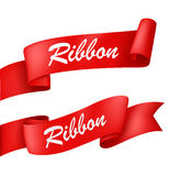 Red Ribbon banner. Illustration of Red Ribbon banner isolated on white royalty free illustration