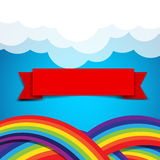 Red ribbon banner on rainbow clound and sky background Royalty Free Stock Photo