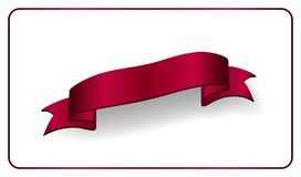 Red ribbon banner. Satin glossy bow blank. Design label scroll ribbon blank element  on white background. Empty. Red ribbon 3d banner. Satin glossy bow blank Stock Photography