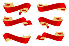 Red ribbon banners Royalty Free Stock Photos