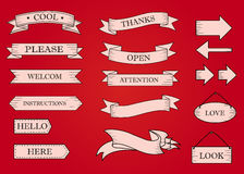 Red ribbon banners set. Beautiful blank for decoration graphic Royalty Free Stock Photo