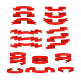 Red ribbon   banners set Stock Photos