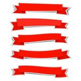 Red ribbon banners sticker with shadow on white background. Cute,eps10 Royalty Free Stock Photography