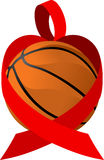 Red Ribbon Basketball Heart Royalty Free Stock Image