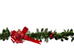 Red Ribbon with  Bauble and Holly Stock Photography