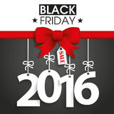 Red Ribbon Black Friday Price Sticker 2016. Red ribbon with text black friday and 2016 Stock Photos