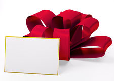 Red ribbon with blank card 3d Stock Photo
