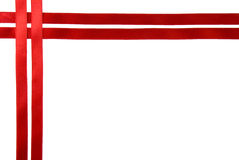 Red ribbon border. Photo of red ribbon border - isolated in white Royalty Free Stock Photo