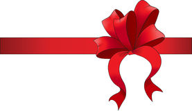 Red ribbon with bow. Vector illustration Royalty Free Stock Photos
