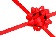 A red ribbon bow. Decorative red ribbon on background Royalty Free Stock Images