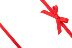 Red ribbon with a bow Stock Image