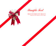 Red ribbon with bow. Red ribbon with red big gift bow with space for your text Stock Photos