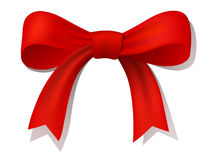 Red ribbon bow. Vector ribbon bow. Created using gradient meshes Stock Photography