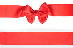 Red ribbon with bow Royalty Free Stock Photography