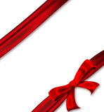 Red ribbon with a bow. On a white background Stock Photos