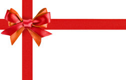 Red ribbon bow. Like a gift on white background Stock Images