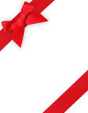 Red ribbon and bow. Red ribbon and gift bow white template stock photo